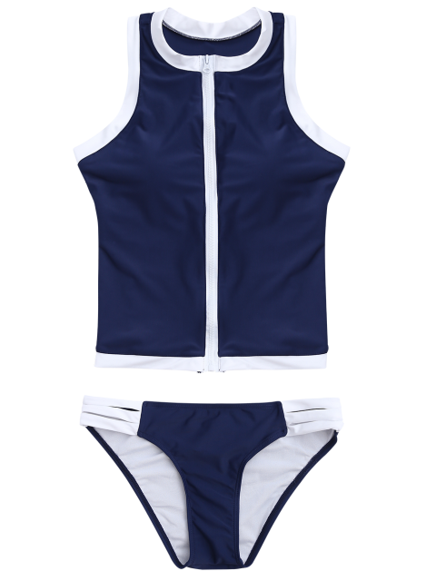 outfits Color Block Full Zip Sports Tankini Set - DEEP BLUE XL Mobile