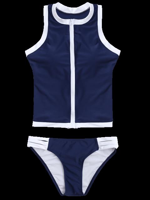 latest Color Block Full Zip Sports Tankini Set - DEEP BLUE S Mobile