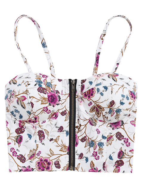 fancy Front Zipper Morning Glory Padded Cami Top - WHITE ONE SIZE Mobile