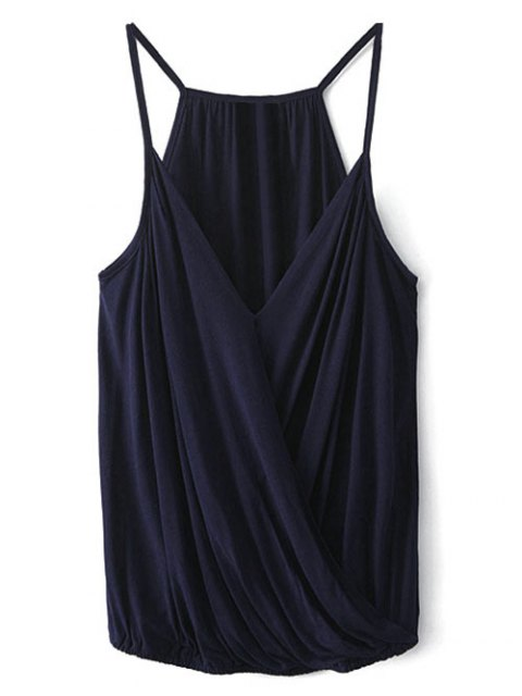 new V Neck Wrap Cami Top - PURPLISH BLUE L Mobile