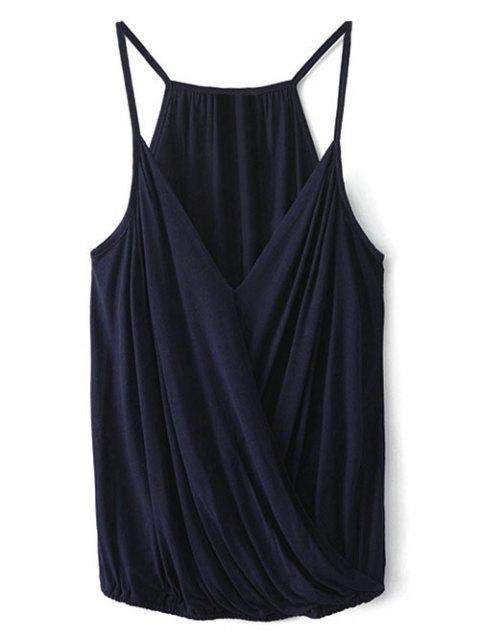hot V Neck Wrap Cami Top - PURPLISH BLUE M Mobile