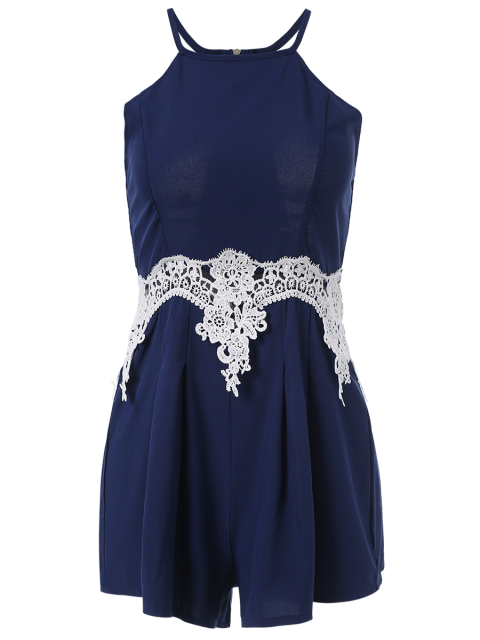 lady Lace Insert Cami Romper - PURPLISH BLUE S Mobile