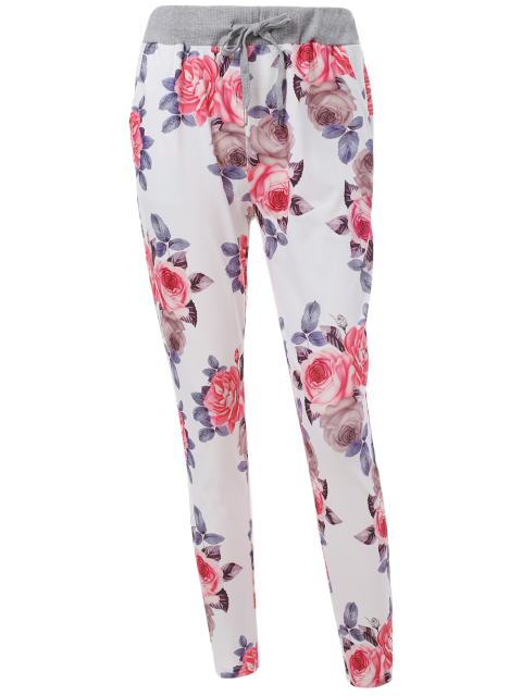 affordable Floral Print Drawstring Narrow Feet Pants - FLORAL L Mobile