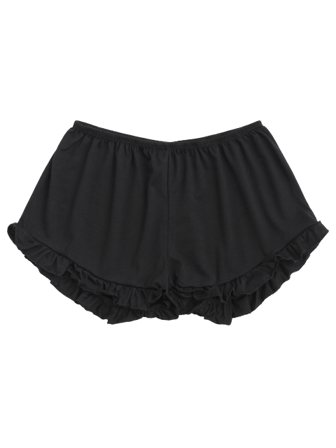 buy Solid Color Trimming Elastic Waist Shorts - BLACK ONE SIZE(FIT SIZE XS TO M) Mobile