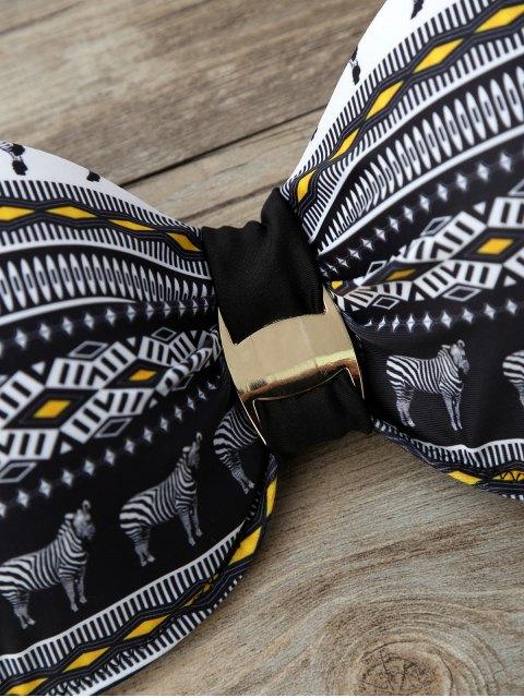 ladies Geometric Horse Print Bikini Set - BLACK L Mobile