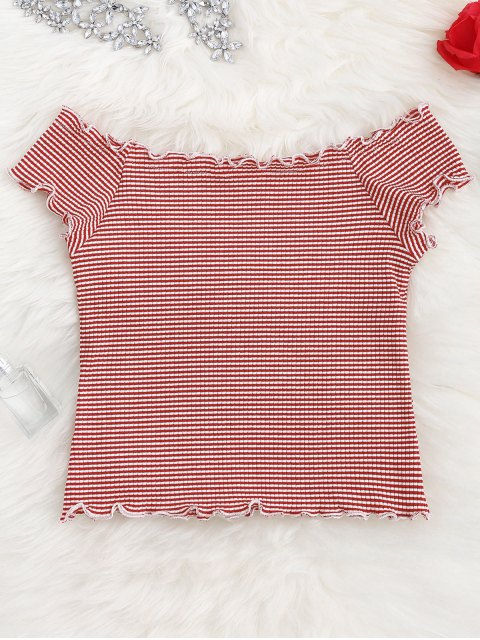 shop Striped Ruffles Ribbed Top - STRIPE ONE SIZE Mobile
