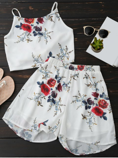 fashion Floral Backless Crop Top and Chiffon Shorts - WHITE S Mobile