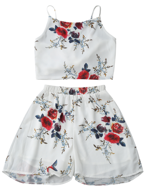 fancy Floral Backless Crop Top and Chiffon Shorts - WHITE L Mobile