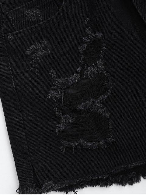 affordable Cutoffs Ripped Denim Shorts - BLACK S Mobile