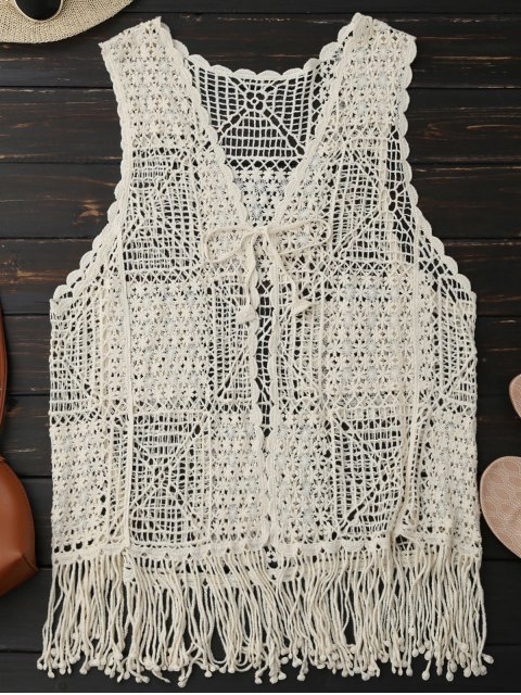 buy Crocheted Lace Sleeveless Fringed Cover Up - PALOMINO ONE SIZE Mobile