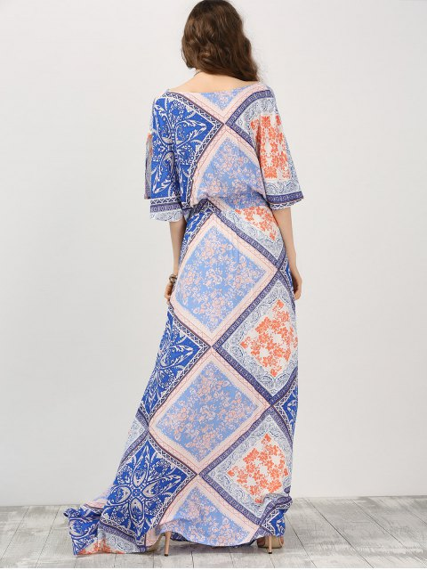 lady Kimono Sleeve Belted Printed Maxi Dress - COLORMIX L Mobile