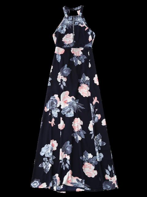 chic Self Tie Front Slit Floral Maxi Dress - PURPLISH BLUE M Mobile