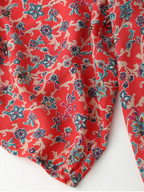 latest Ruched Sleeve Retro Paisley Print Tunic Dress - RED S Mobile