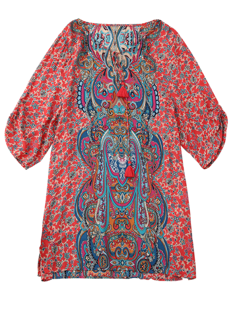 fashion Ruched Sleeve Retro Paisley Print Tunic Dress - RED L Mobile