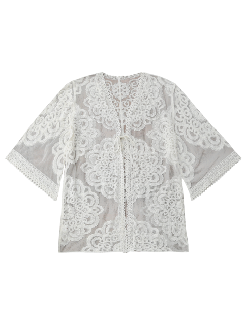 chic Lace Kimono Cover Up - WHITE ONE SIZE Mobile