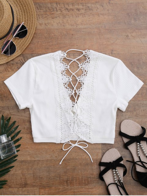 fancy Crochet Panel Plunge Lace Up Cropped Cover Up - WHITE L Mobile