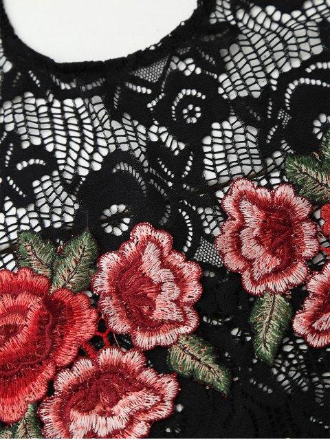 women's Backless Lace Floral Applique Bodysuit - BLACK M Mobile