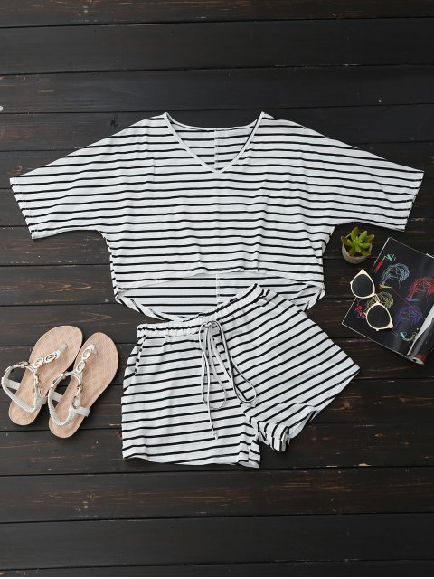 new High Low Striped T-Shirt with Drawstring Shorts - STRIPE M Mobile
