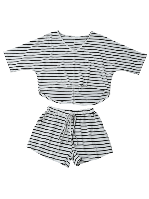 outfit High Low Striped T-Shirt with Drawstring Shorts - STRIPE L Mobile