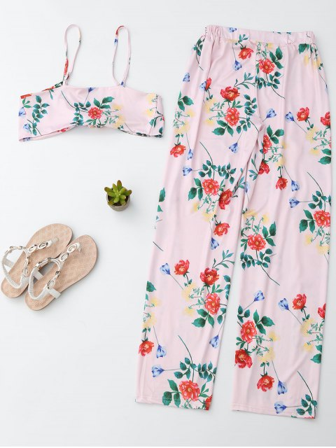 trendy Floral Crop Cami Top with Side Slit Pants - PINK S Mobile