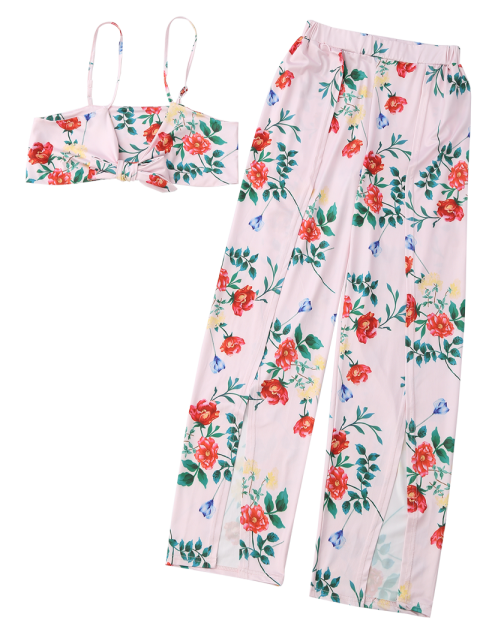 fashion Floral Crop Cami Top with Side Slit Pants - PINK M Mobile