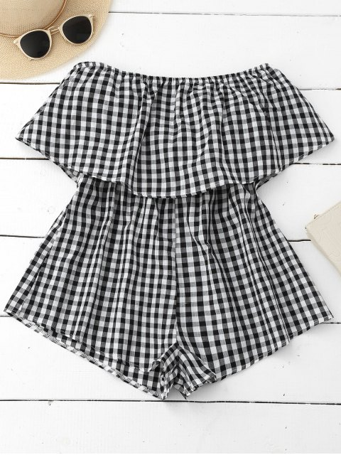 lady Checked Overlay Tube Romper - PLAID S Mobile