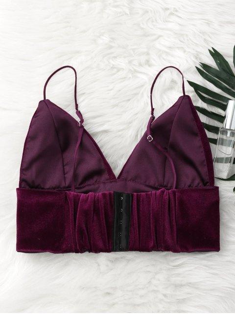 latest Back Clousure Velvet Bra - PURPLISH RED S Mobile