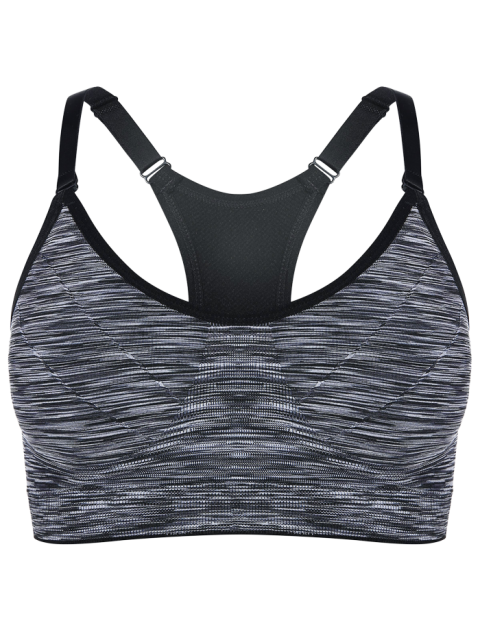buy Heathered Pullover Sports Bra - GRAY M Mobile