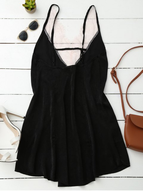 buy Cami Lace Panel Satin Backless Dress - BLACK L Mobile