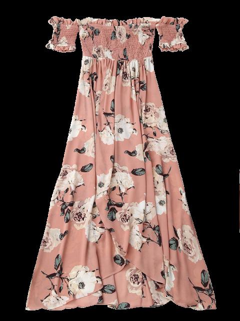 affordable Off Shoulder Shirred Slit Floral Maxi Dress - PINK S Mobile