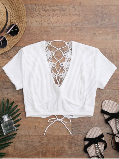 unique Crochet Panel Plunge Lace Up Cropped Cover Up - WHITE M Mobile