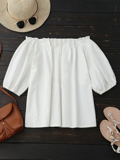 Off Shoulder Pintuck Puff Sleeve Top - White