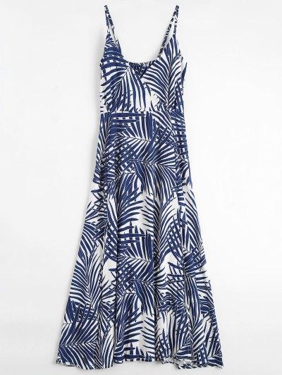 Palm Tree Print Slip Maxi Holiday Dress