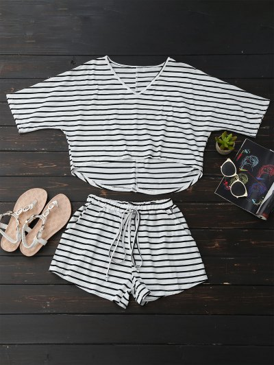 High Low Striped T-Shirt With Drawstring Shorts - Stripe