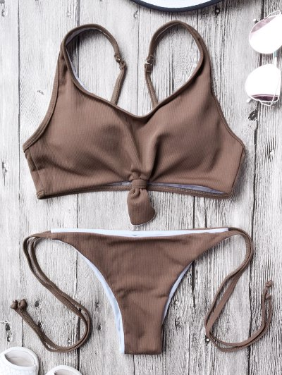 Cami Bralette String Bikini Set - Coffee M