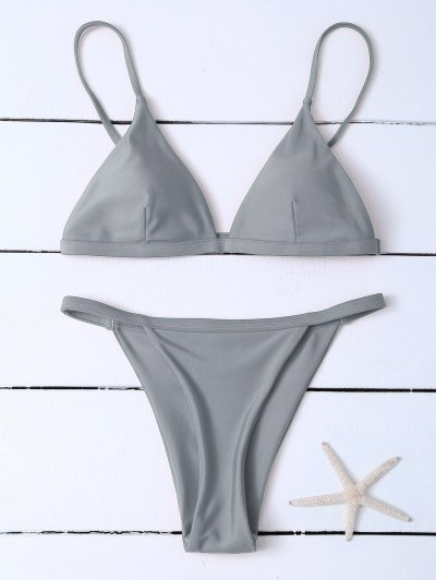 Low Waisted Spaghetti Strap Bikini Swimwear - Gray S