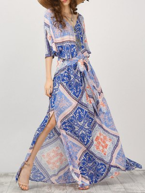 Kimono Sleeve Belted Printed Maxi Dress - L