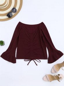 Flare Sleeve Knitting Tied Top