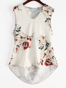 Floral High Low Tank Top - Floral S