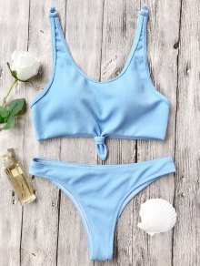 Knotted Bralette High Cut Bikini Set - Light Blue