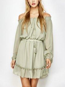 Off The Shoulder Mini-robe En Mousseline De Soie - Vert Clair