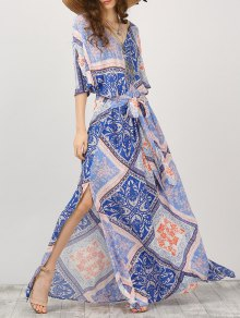 Kimono Sleeve Belted Printed Maxi Dress