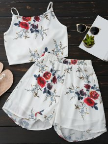 Floral Backless Crop Top And Chiffon Shorts - White