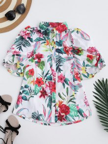 Puff Sleeve Floral Shirt