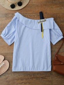 Buy Skew Neck Applique Striped Blouse - BLUE L