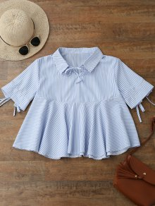 Tie Front Skirted Striped Shirt