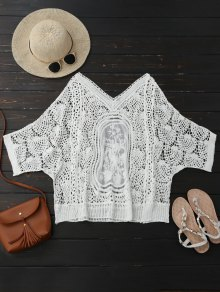 Hollow Out Lace Batwing Sleeve Beach Top