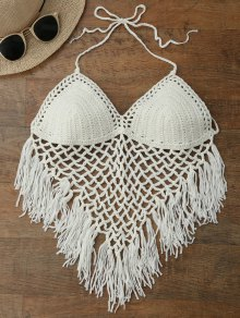 Halter Open Back Crochet Fringe Top