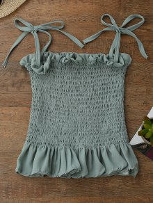 Spaghetti Strap Smocked Peplum Tank Top - Light Green