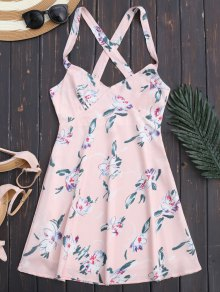 Floral Backless Summer Dress - Light Pink M